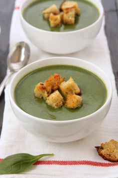 Spinach Soup with Rosemary Garlic Croutons