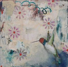 """Part of my floral and hummingbird painting series. 12"""" x 12"""", $395. Please visit my website to signup for my art newsletter. Family Theme, New Theme, Hummingbird Painting, Interior Design Courses, Ocean Sounds, Artist Bio, House With Porch, Creative Outlet, Rice Paper"""