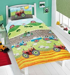 Kidz Tractors Animal Farm Kids Quilt Duvet Cover and 2 Matching Pillowcase Bedding Bed Set, Green, Double
