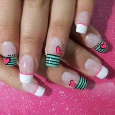 uñas frances turquesa y blanco corazones nails white, turquoise, hearts Shellac Nail Designs, Shellac Nails, Nail Art Designs, Holiday Nail Art, French Tip Nails, Super Nails, White Nails, Love Nails, Beauty