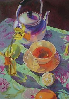 Tea Time by Linnea Tobias Watercolor ~ 24 inches x 18 inches