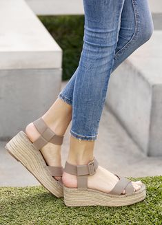 c6b9a4463c60 Taupe espadrille flatform with leather straps