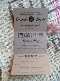 Rustic all in one trifold Wedding Invitations Invites  RSVP Postcard 3.5 by SAEdesignstudio