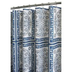 Watershed *Medallion* Tiles Shower Curtain in Ocean Blue / White (elegant boy - royal/navy blue, light blue, gray medallions in square tiles)  $32.98