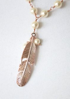 Rose Gold Feather Necklace Swarovski pearl beaded