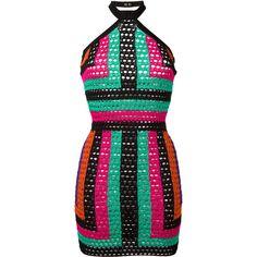 Balmain Halterneck Mini Dress ($1,855) ❤ liked on Polyvore featuring dresses, halter-neck tops, short dresses, mini dress, green halter dress and green halter top