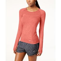 Nike Dri-fit Knit Long-Sleeve Running Top ($80) ❤ liked on Polyvore featuring activewear, activewear tops, light crimson, nike, nike sportswear and nike activewear