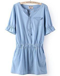 Looks very cool   Light Blue Short Sleeve Pockets Waistband Denim Dress US$27.00