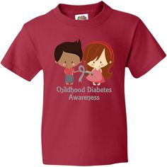 Childhood Diabetes Youth T-Shirt has gray blood drop ribbon and boy and girl design with room to personalize for awareness and support. $14.99 www.awarenesstshirts.com #ChildhoodDiabetes #diabetes #awareness