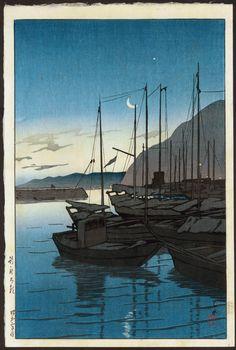 Morning at Beppu   Kawase Hasui   1929   early edition published by Watanabe   www.hanga.com