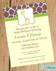Giraffe Baby Shower Printable Invitation, Personalized Giraffe Girl or Boy Shower Invite, Sweet Giraffe Baby Shower. $13.50, via Etsy.
