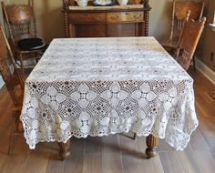 Vintage Large Crochet 84 X 53  Rectangle Rectangular Table Cloth Tablecloth Cotton Linen Vogueteam VExplosion IVteam