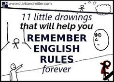 Have you ever wondered if you should use 'say' or 'tell'? 11 Little Drawings That Will Help You Remember English Rules Forever. Grammar And Punctuation, Teaching Grammar, Grammar Lessons, Teaching Writing, Teaching Tips, Teaching English, Learn English, Learn French, Grammar Rules