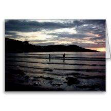 Sunset,Narin Strand, County Donegal,Ireland Cards My own photograph with my sons in it!