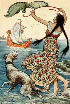 Vintage Girl and Hound by Frank C. Papé Pape  Love this. Is it a wolfhound? A Lurcher? Wish I had one.   via vintagebookillustrations