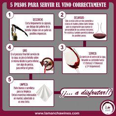 En solo 5 pasos aprenderás a servir correctamente. #servir #vino #tinto #infografías