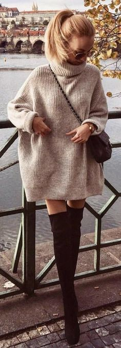 #Winter #Outfits / Sweater Dress + Black OTK Boots