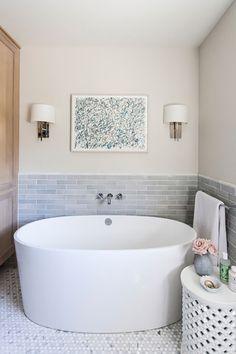 modern bath with gray subway tile