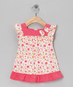 Look at this #zulilyfind! Beebay Pink & Red Polka Dot Floral Bow Dress - Infant, Toddler & Girls by Beebay #zulilyfinds