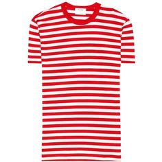 Re/Done Striped T-Shirt ($115) ❤ liked on Polyvore featuring tops, t-shirts, red, stripe top, red striped tee, striped top, red stripe tee and red stripe top