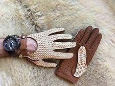 Men Driving Glove Brown Deerskin Leather Crochet Top size 7.5 8 8.5 9 9.5