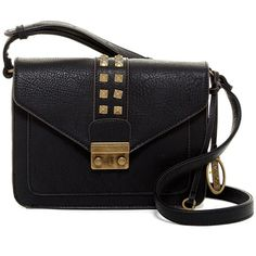 Carlos By Carlos Santana Serena Structured Flap Crossbody (1,410 INR) ❤ liked on Polyvore featuring bags, handbags, shoulder bags, black, studded crossbody purse, crossbody purses, cross-body handbag, studded crossbody and shoulder strap handbags