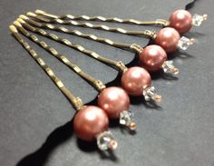 Hair Bobby Pins, Antique pink Glass White Pearls with crystal top, Wedding, Bridal Hair Accessory set of 6 by JJJCrafts on Etsy