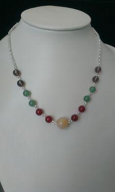 Halskette, versilbert, Halbedelsteine
