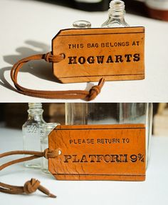 """This bag belongs at Hogwarts"" and ""Please Return to Platform 9 3/4"" • inspired by the movie, Harry Potter (Warner Bros.) • leather tags • from the shop MesaDreams on Etsy"