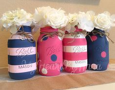 *Nautical Baby Shower for Girl, Pink, Navy, White, Nautical Centerpieces, Nautical Wedding Centerpieces, Nautical Decor, Painted Nautical Jar ♥ Navy Blue with Baby Pink Stripes ♥ Fuchsia with Navy Blue and White Polka Dots ♥ Fuchsia with White Stripes ♥ Navy Blue w Fuchsia and Baby