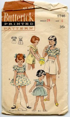 1950s Girls Sun Outfit Pattern Butterick 5746 by GreyDogVintage, $24.00