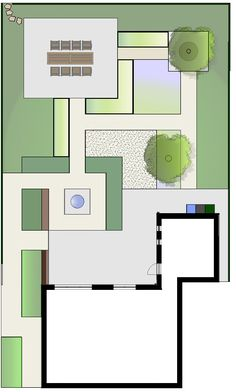 Achtertuin aangepast aan minder valide met brede paden en grote terrassen