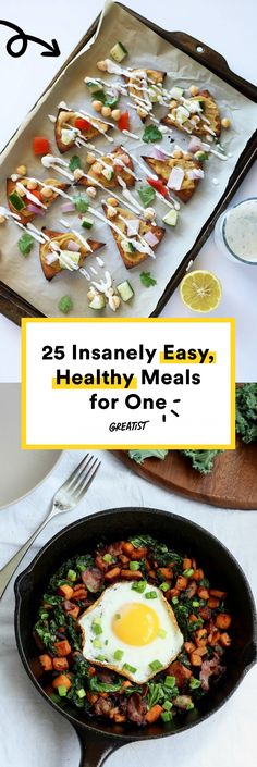 When you're cooking solo, you don't want to spend hours cooking more food than you need. These healthy meals for one will limit your time in the kitchen and open your eyes to 25 more single-serving recipes. Healthy Meals For One, Easy Healthy Recipes, Quick Meals, Healthy Drinks, Healthy Cooking, Healthy Eating, Cooking Recipes, Cooking For One, Cheap Easy Healthy Meals