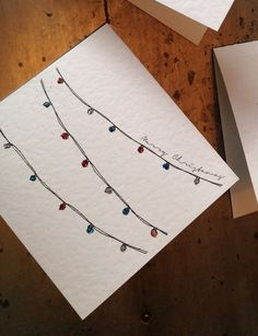 Fairy Lights Hand Drawn Christmas Card by StonePaperDesigns