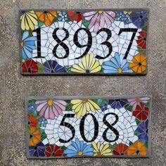 Custom Glass Mosaic Home Address Sign - Gartenkunst Mosaic Garden Art, Mosaic Tile Art, Mosaic Pots, Mosaic Artwork, Mosaic Glass, Mosaics, Stained Glass, Glass Art, Mosaic Art Projects