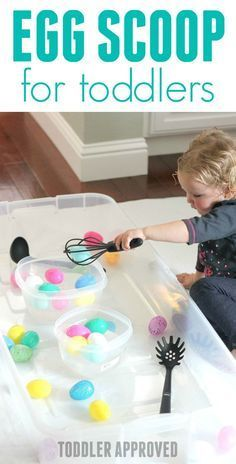 Egg Scoop Easter Activity for Toddlers- such an easy to set up activity using plastic eggs! Easter activities Egg Scoop Easter Activity for Toddlers Easter Activities For Toddlers, Toddler Learning Activities, Spring Activities, Easter Crafts For Kids, Infant Activities, Toddler Crafts, Preschool Activities, Toddler Sensory Bins, Sensory Play
