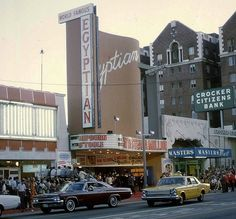"""Egyptian Theater, 6712 Hollywood Blvd, Los Angeles, playing """"How to Steal a Million"""" in 1966 California History, California Dreamin', Vintage California, Garden Of Allah, Los Angeles Zoo, Egyptian Theater, Los Angeles Hollywood, Las Vegas, Hollywood Boulevard"""