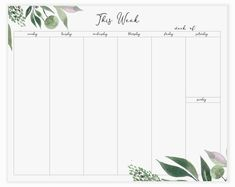 Timetable Planner, Weekly Planner Pad, Daily Planner Printable, Planner Template, Weekly Calendar, Planner Layout, Planner Pages, Week Planer, Planner Organization