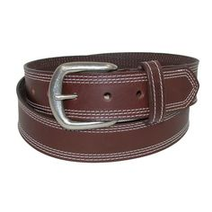 A durable casual jean belt in a bridle style. Triple edge stitching in in a contrast color that matches the stitching on the keeper.
