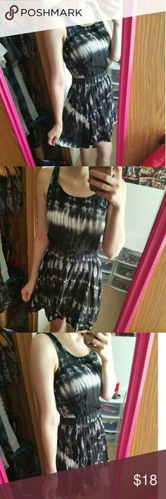 Tie dye dress Black and gray tie dye dress from Material Girl. It's in perfect condition. I bought it and never wore it, it's just been hanging in my closet. It's has a really cute open back detail. Super comfortable. Material Girl Dresses Mini