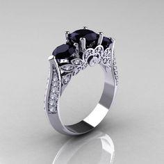 Wedding Ring, Blue Topaz, Pink Sapphire, Black Diamond, Engagement Rings