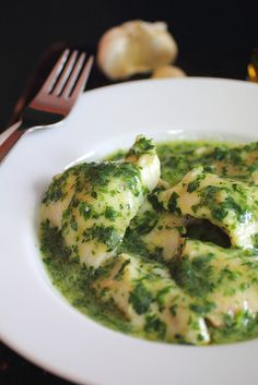 Spanish Fish with Salsa Verde by Anne Siborney via adventuressheart: White fish, parsley, garlic and olive oil. (You won't miss the lemon.) http://tinyurl.com/695tns3