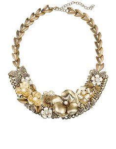 Louise Floral Statement Necklace   Gold   Accessorize