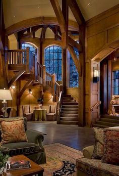 Stairs luxury homes & log cabins interiores de casas, decora Future House, My House, Style At Home, Log Cabin Homes, House Goals, Dream Rooms, Home Fashion, Stairways, My Dream Home
