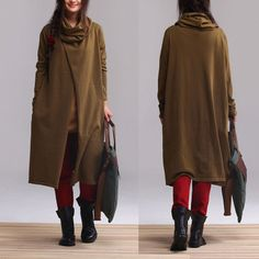 Medium green cotton pullover sweater piles collar by dreamyil, $118.00