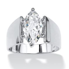 Undeniably exquisite contemporary solitaire ring showcases a carat marquise-cut cubic zirconia set in a wide-shank band. Sizes - Marquise-Cut Cubic Zirconia Solitaire Engagement Anniversary Ring TCW in Gold-Plated at PalmBeach Jewelry & Save Cubic Zirconia Engagement Rings, Cubic Zirconia Rings, Solitaire Engagement, Solitaire Ring, Style Surfer, Palm Beach Jewelry, Ring Set, Wide Band Rings, Oval Rings