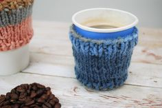 Blue coffee cup cover, reusable cup cozy, take out drink sleeve, teacher appreciation gift, present for coffee lover, stripy kitchen gift by LuluPixieBelle on Etsy