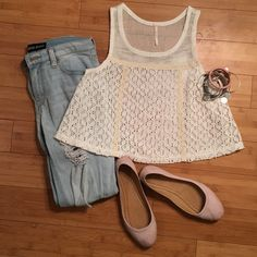 """Free People Ivory Crop Tank This top is NWT! It is is ivory or off white in color. It has netting at the yoke and a floral design on the entire skirt. It is a boxy fit. It is approximately 17"""" across the bust when laid flat and 18"""" from shoulder to hem. The bodice is 100% cotton. The skirt is100% polyester. Free People Tops Tank Tops"""