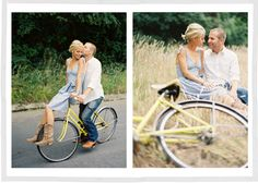 San Francisco, CA engagement session on a vintage yellow Schwinn bicycle in the Presidio.  Photo by Scott Andrew Studio.