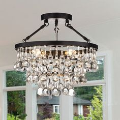 Shop for Ariane Black Semi Flush Mount. Get free delivery at Overstock - Your Online Ceiling Lighting Store! Get in rewards with Club O! Flush Mount Chandelier, Flush Mount Lighting, Chandelier Lighting, Bathtub Lighting, Shell Chandelier, Entryway Lighting, Crystal Chandeliers, Dining Lighting, Black Chandelier